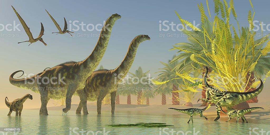 Argentinosaurus in Lake stock photo
