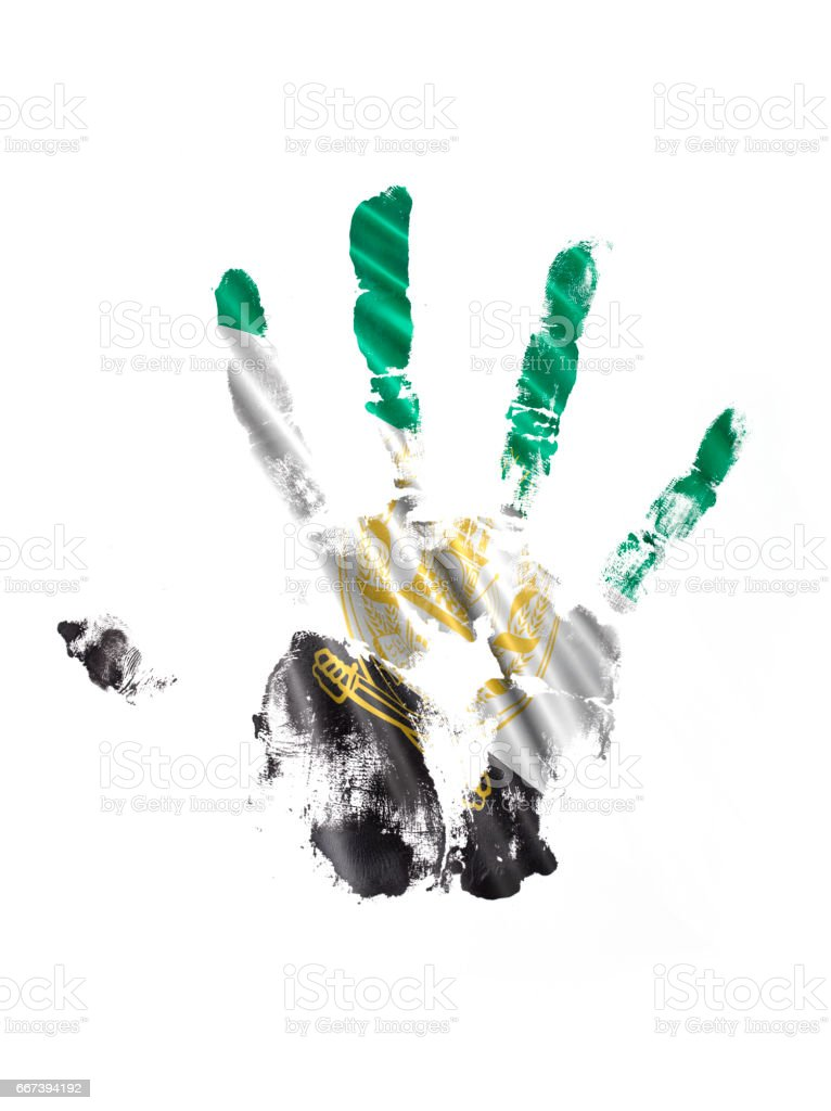Arghanistan Hand Print Flag stock photo