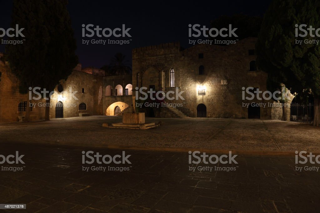 Argyrokastro Square by night stock photo