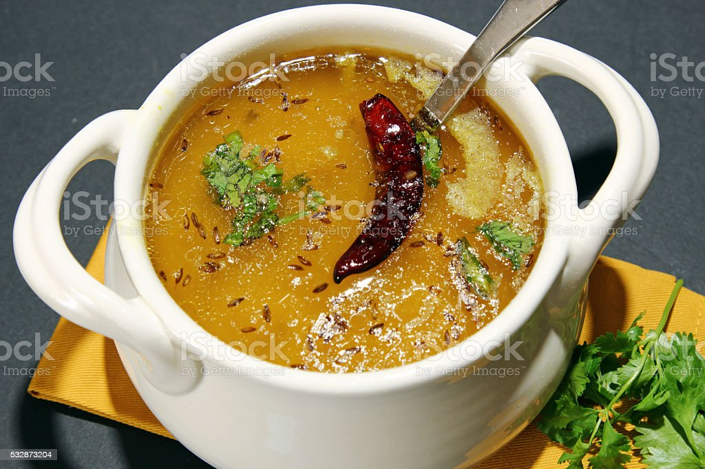 Arhar daal or lentil soup stock photo