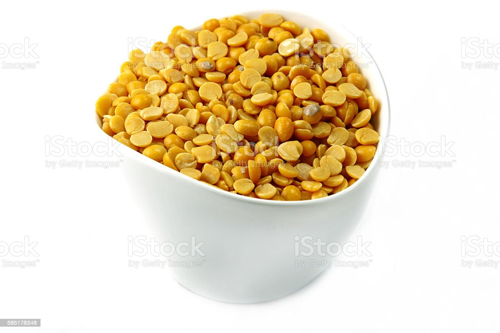 Arhar lentil seeds in a container stock photo