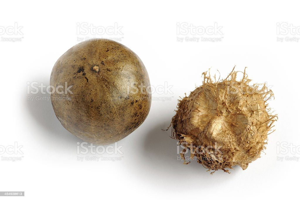 Arhat fruit and Kernel stock photo