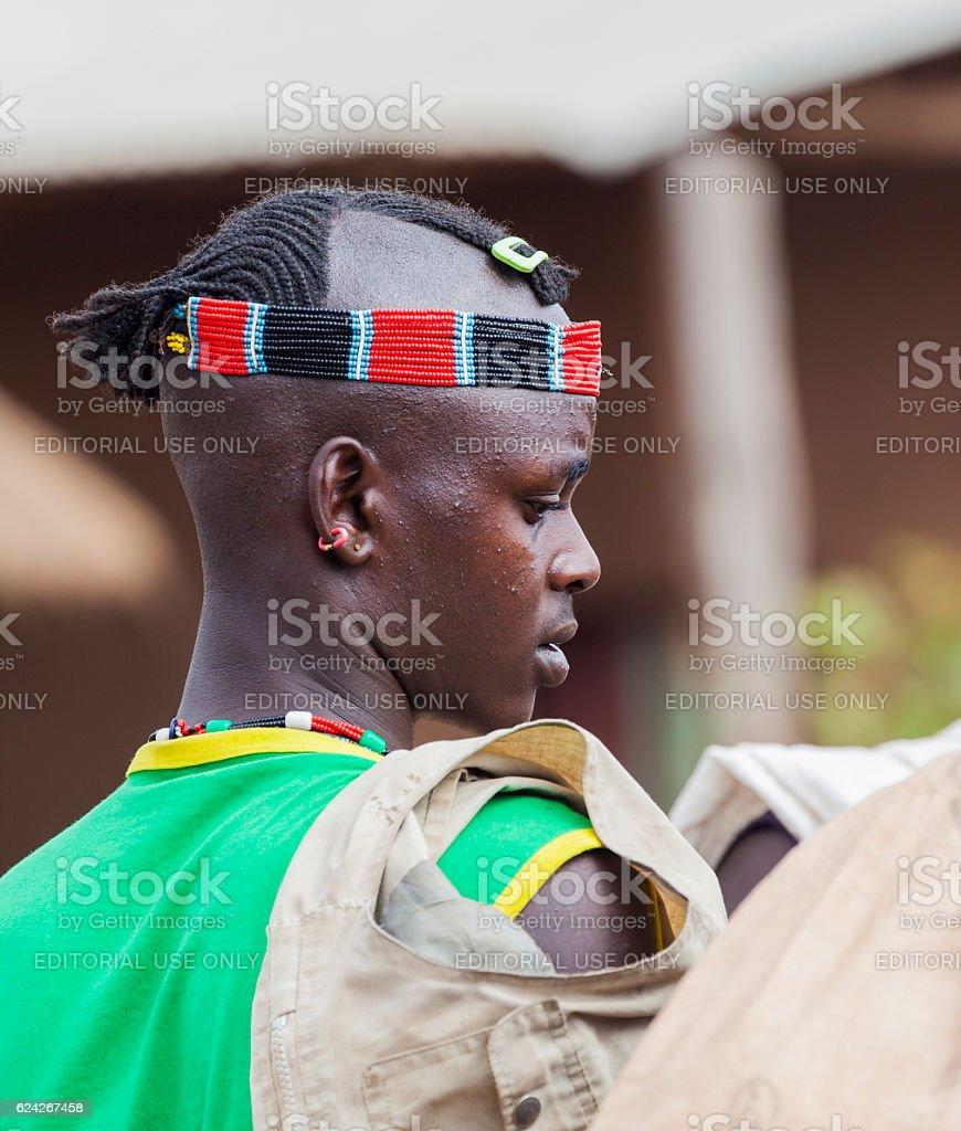 Ari men at village market. Bonata. Omo Valley. Ethiopia stock photo