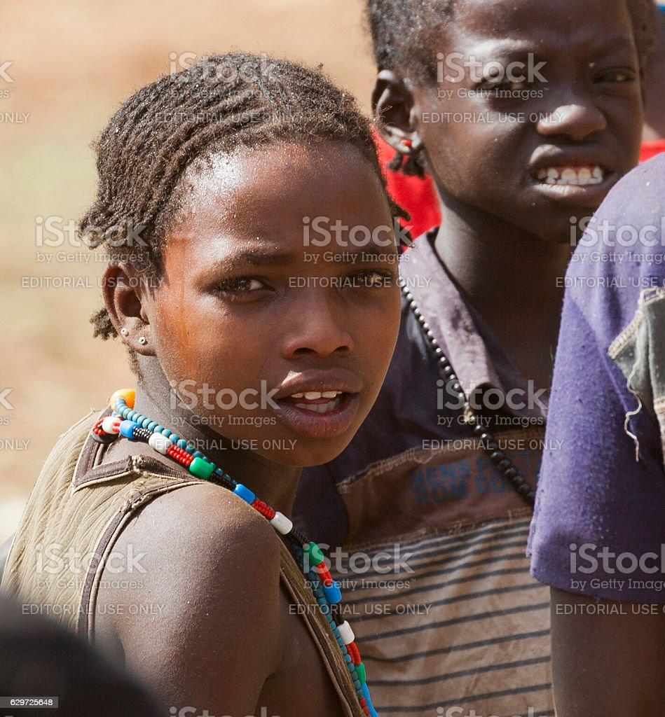 Ari People at village market. Bonata. Omo Valley. Ethiopia stock photo