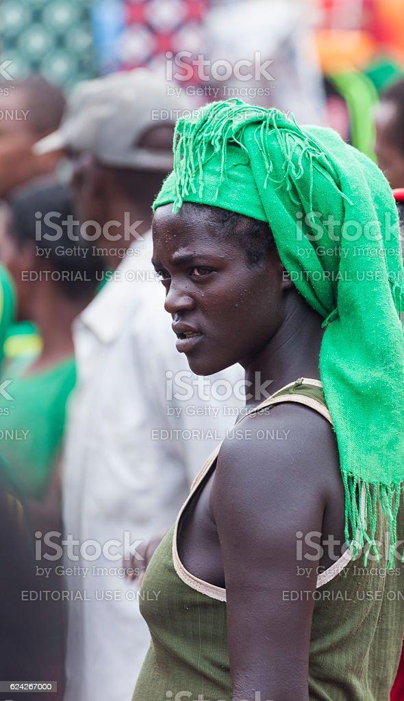 Ari woman at village market. Bonata. Omo Valley. Ethiopia. stock photo