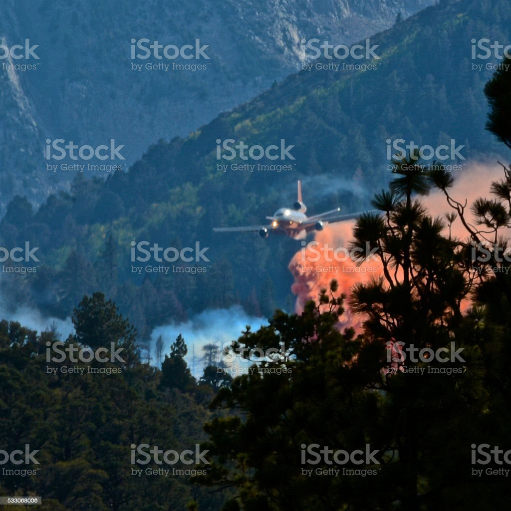 Arial Attack - Air Tanker Fire Fighting stock photo
