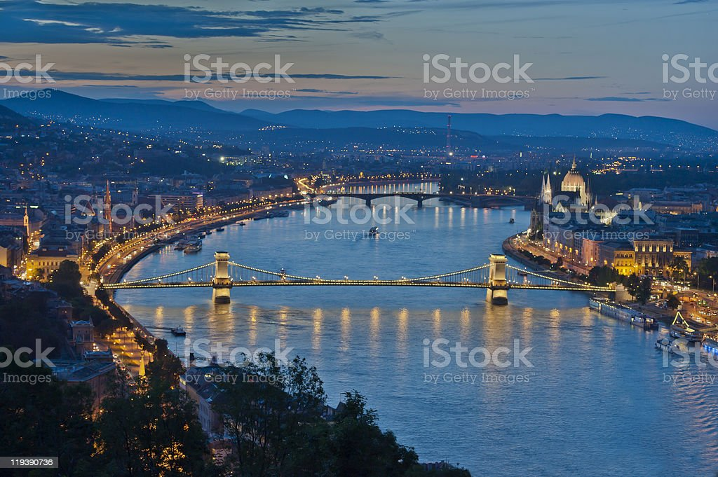 Arial nighttime view of Budapest stock photo