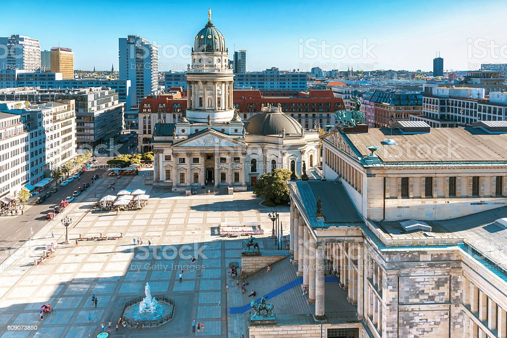 arial view from French Dome on Berlin Gendarmenmarkt stock photo