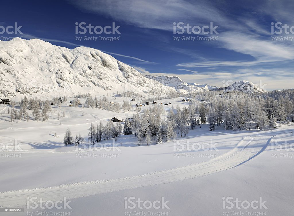 Arial View of a Mountain Village covered in Snow royalty-free stock photo