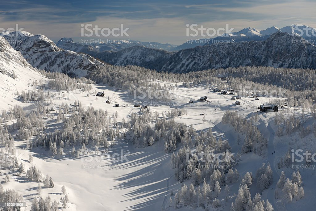 Arial View of a Mountain Village covered in snow (XXXL) royalty-free stock photo