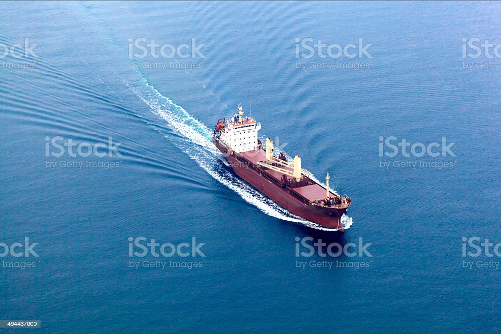 Arial View of Cargo Ship stock photo