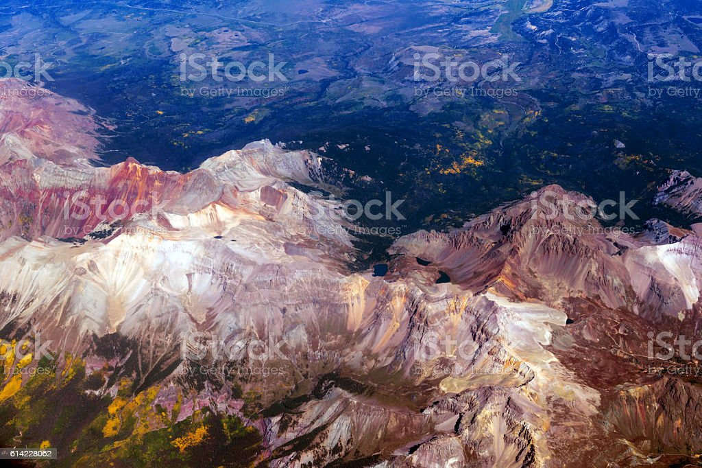 Arial View of Colorado Mountains,Mount Sneffels, USA stock photo