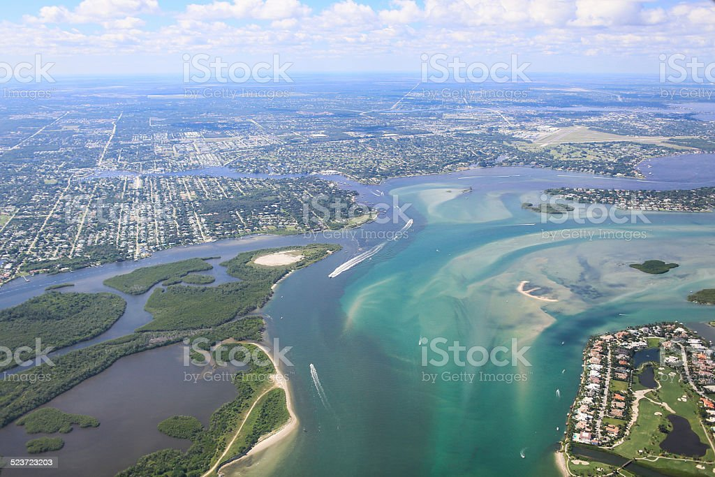 Arial View of Fort Pierce Florida stock photo