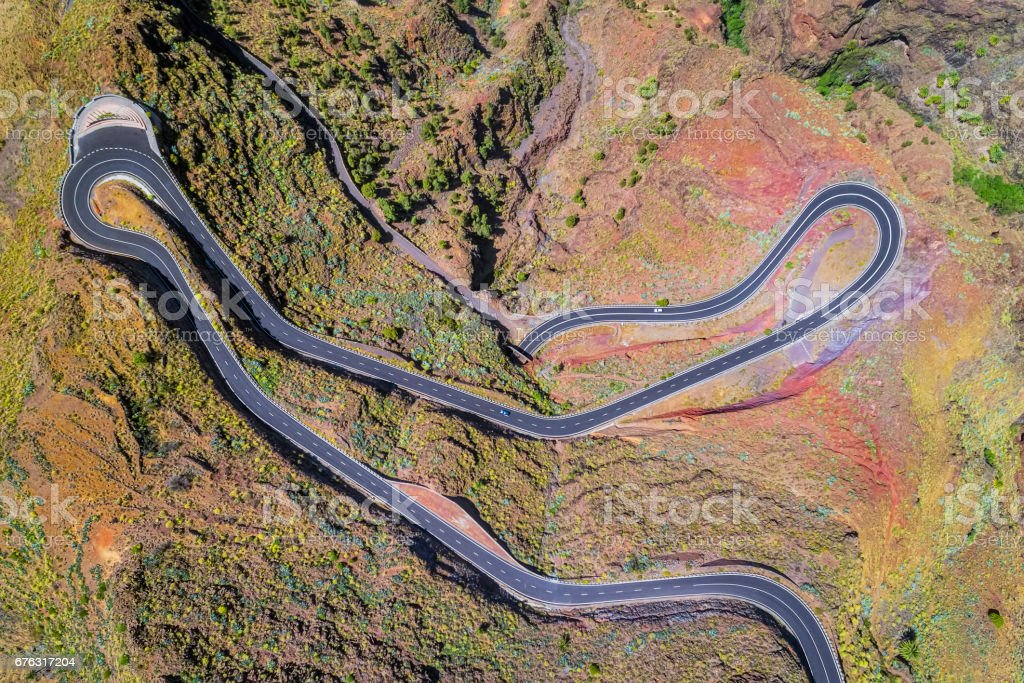 Arial View of Hairpin turns near by Valle Gran Rey on Canary Islands La Gomera in the province of Santa Cruz de Tenerife - Spain stock photo
