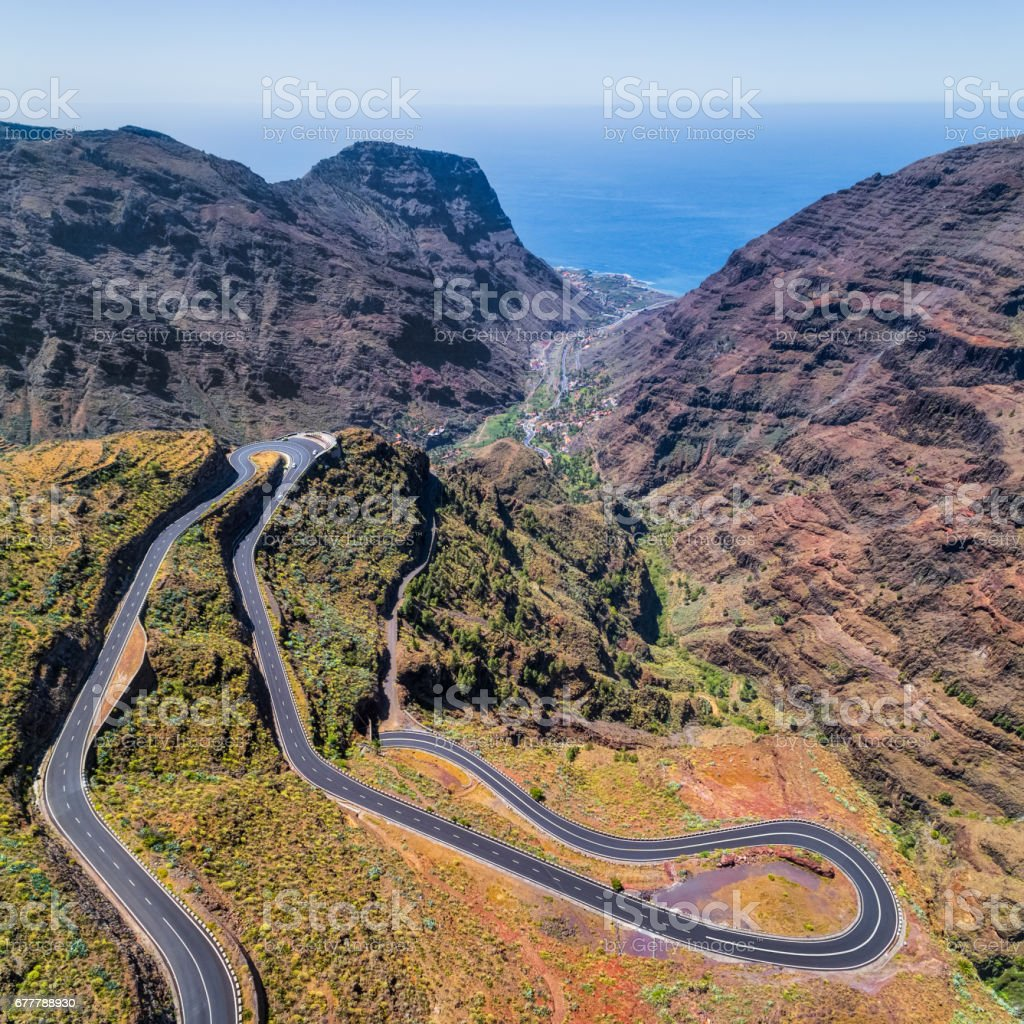 Arial View of Hairpin turns to Valle Gran Rey on Canary Islands La Gomera in the province of Santa Cruz de Tenerife - Spain stock photo