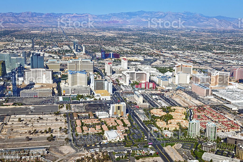 Arial View of Las Vegas Hotels, Nevada USA stock photo