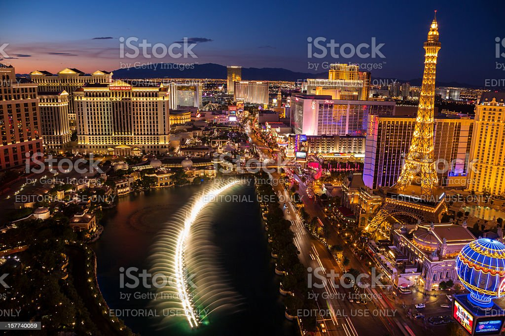 Arial view of Las Vegas Strip at sunset stock photo