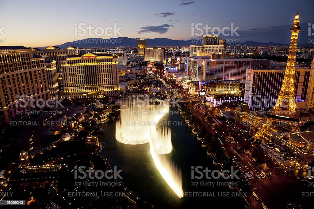Arial view of Las Vegas Strip at sunset royalty-free stock photo