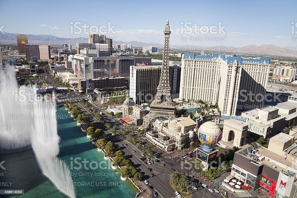 Arial view of Las Vegas Strip stock photo
