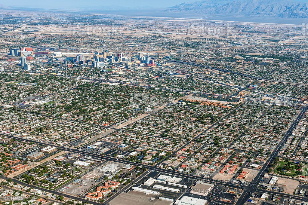 Arial View of Las Vegas,northern part, Nevada USA stock photo