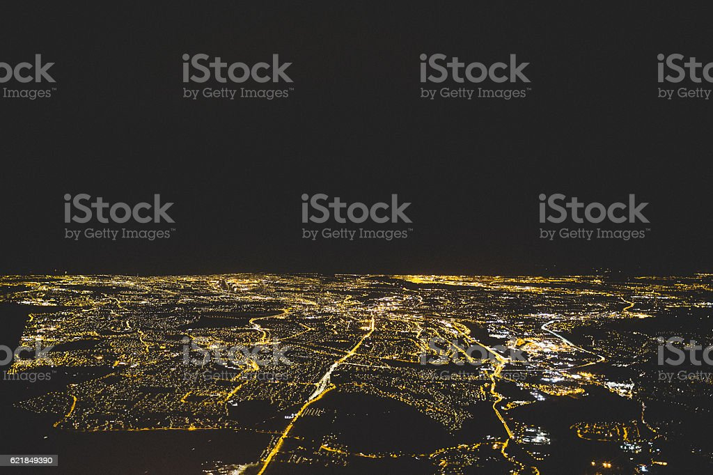 Arial View of Newcastle Upon Tyne at Night stock photo