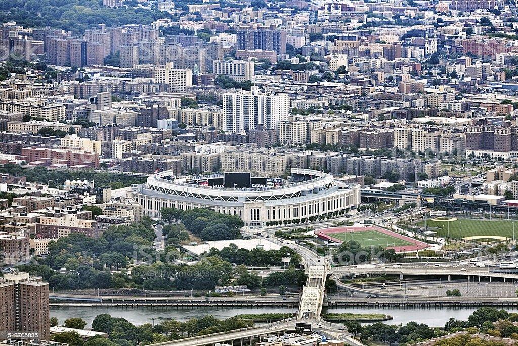 Arial view of NYC and Yankee Stadium stock photo