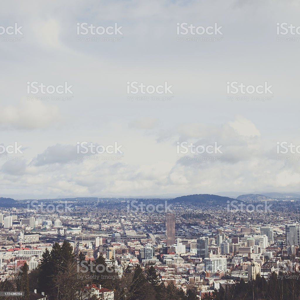 Arial View of Portland Oregon City Scape royalty-free stock photo