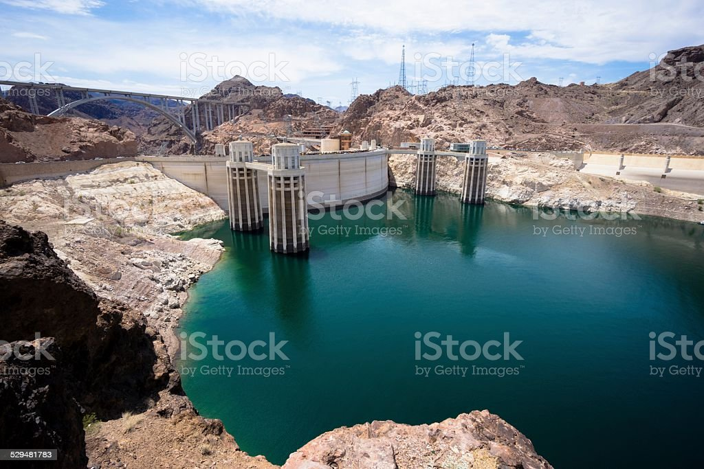 Arial view of rocky terrain around Hoover Dam. stock photo