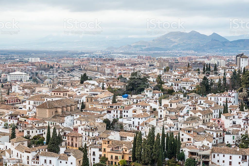 Arial view of the historical city of Granada, Anadulsia, Spain stock photo