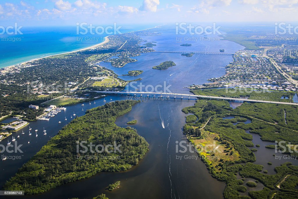 Arial View of the Vero Beach Inlet stock photo