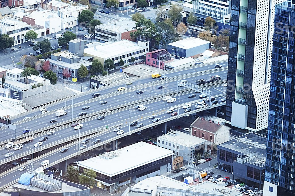 Arial view of traffic in Melbourne, Australia royalty-free stock photo