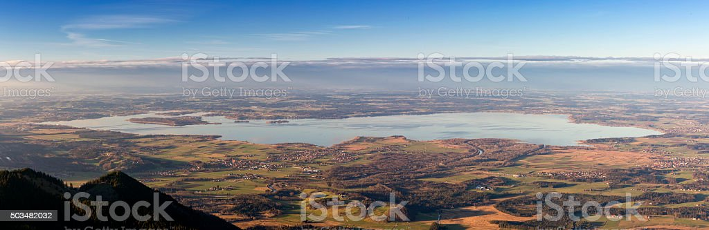 Arial view over lake Chiemsee stock photo