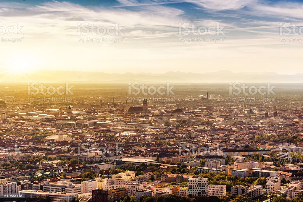 arial view over munich with Frauenkirche in morning light stock photo