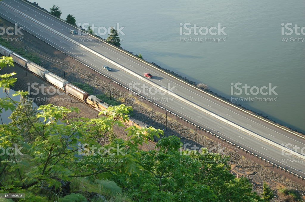 Arial View River, Highway, Train stock photo