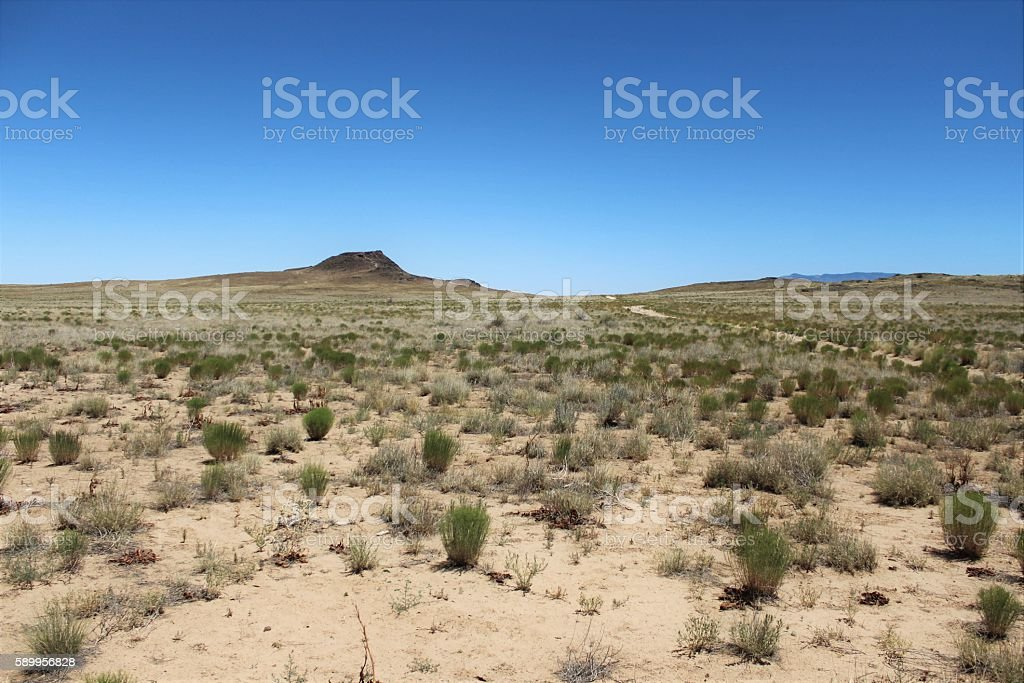 Arid Desert In Front of Extinct Volcano stock photo