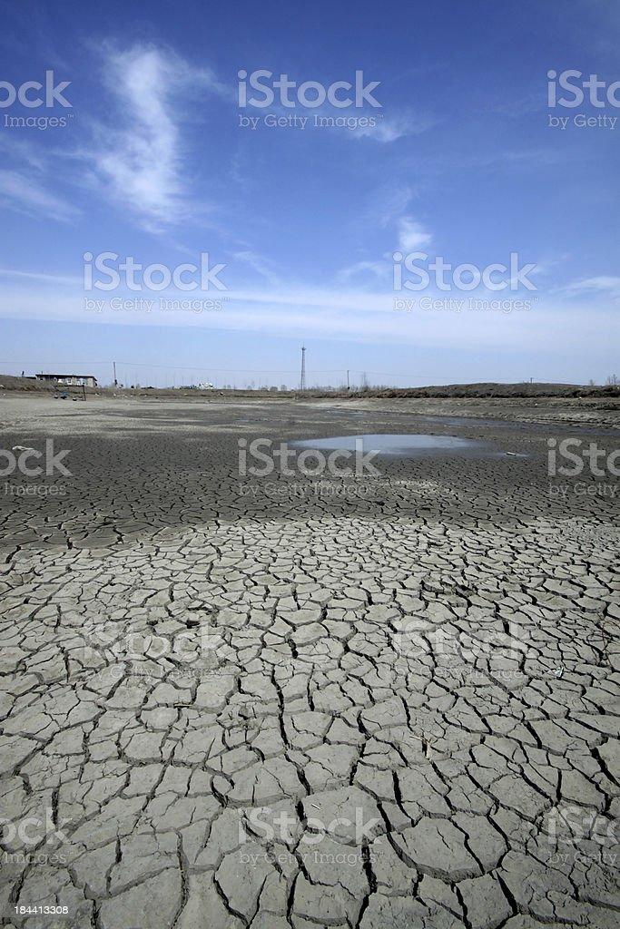 arid lands with cracks stock photo