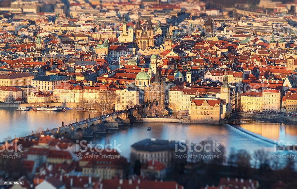 Arieal view of Old Prague with Charles Bridge stock photo