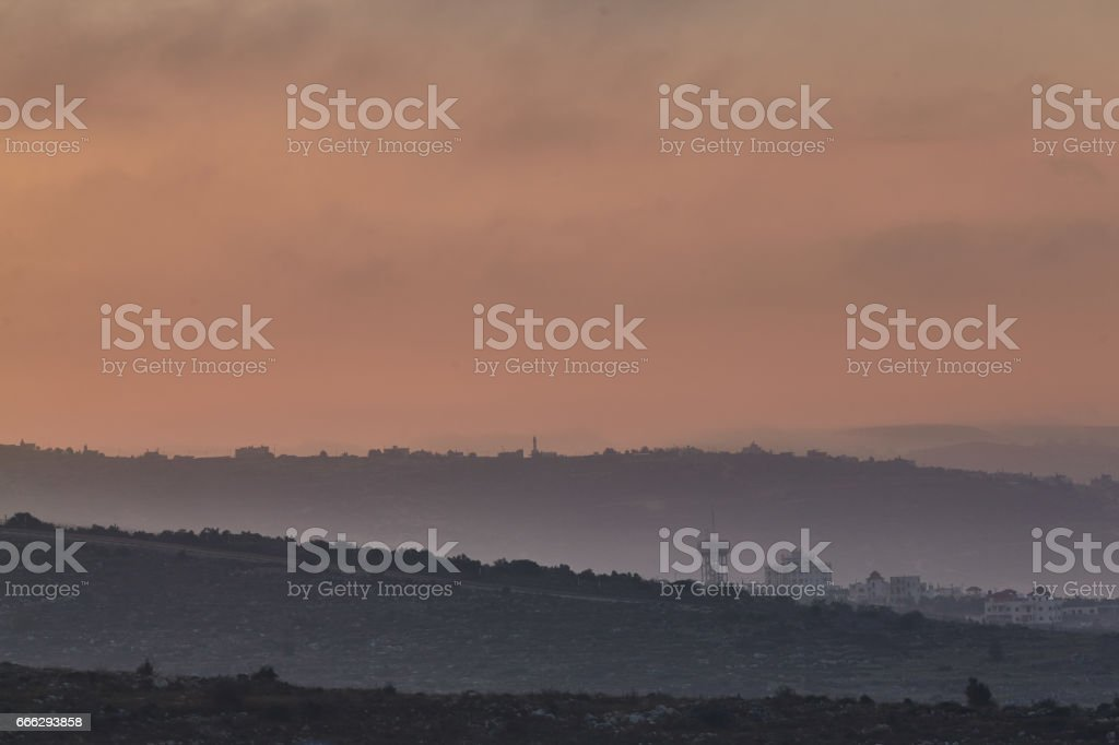 Ariel 03 December, 2016: Mountain view with military base stock photo