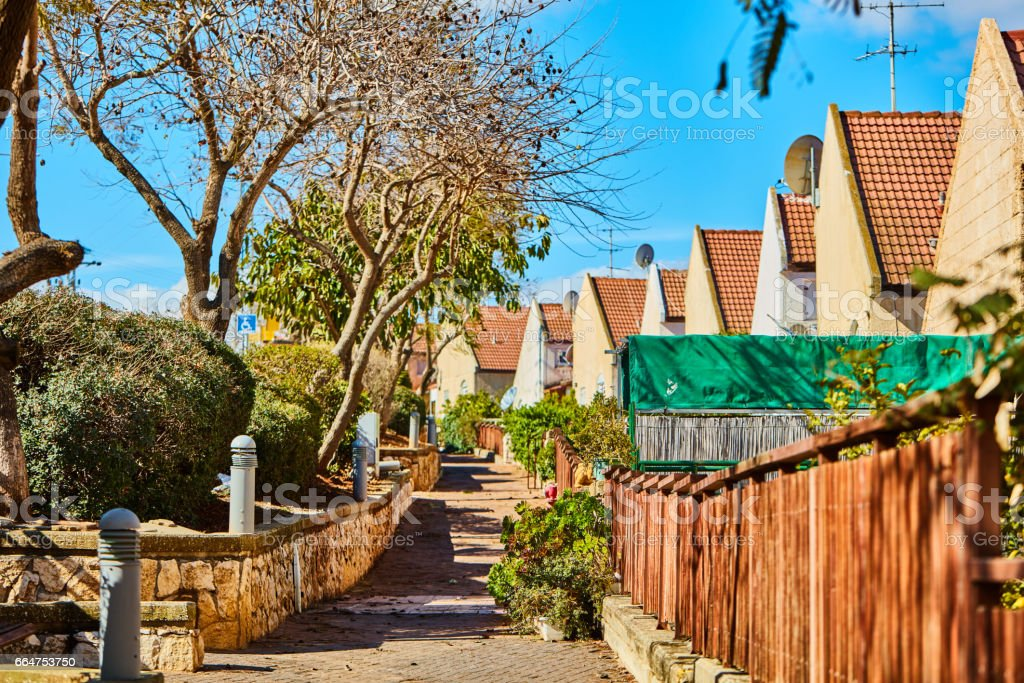 Ariel - 9 December, 2016: Cottages in a row stock photo