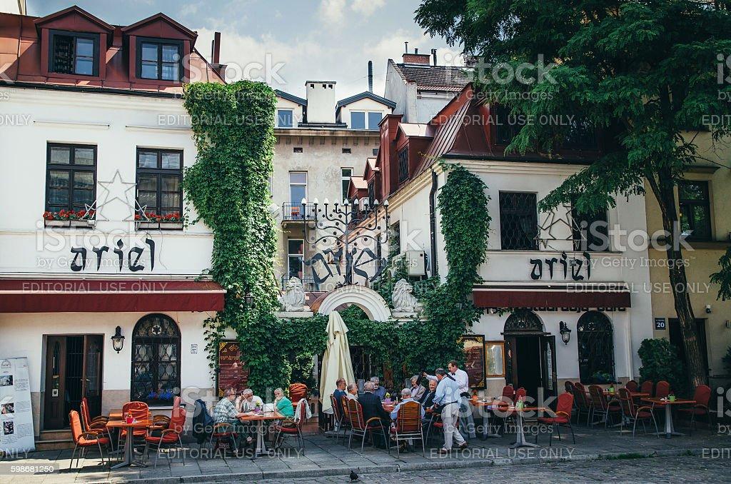 Ariel Jewish restaurant in Kazimierz, Krakow, Poland. stock photo