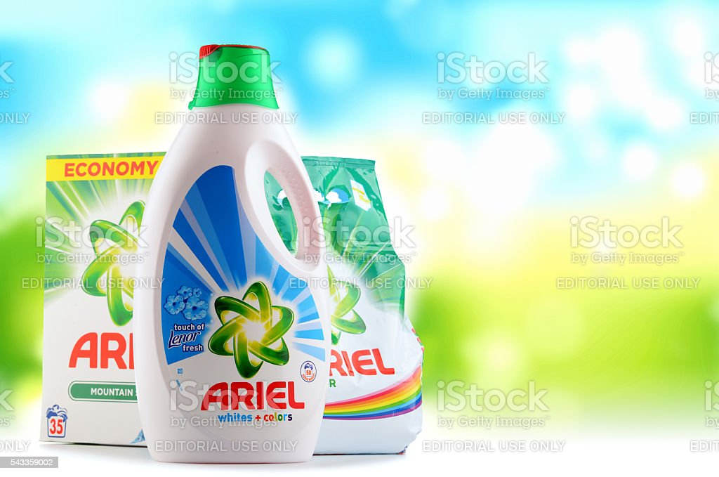 Ariel laundry detergent products stock photo