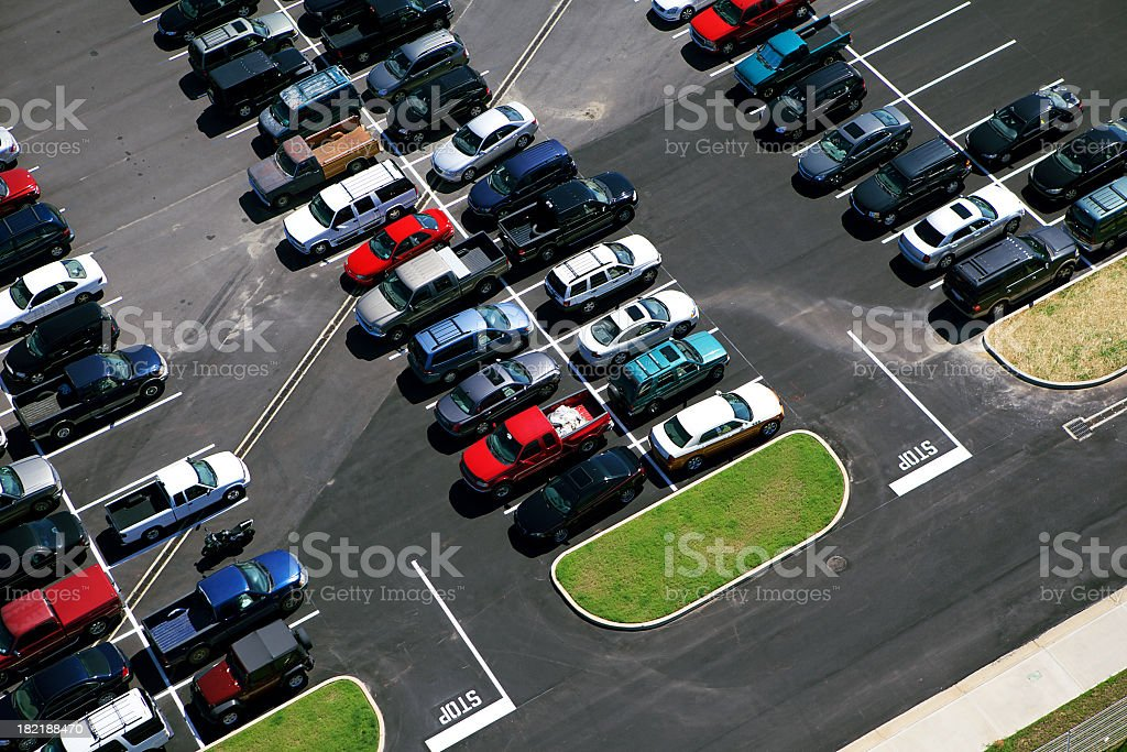 Ariel picture of a parking lot stock photo