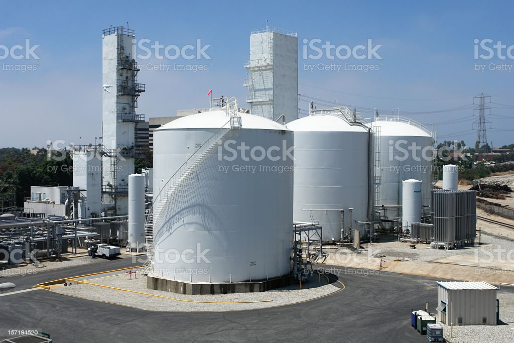 Ariel view of a chemical refinery royalty-free stock photo