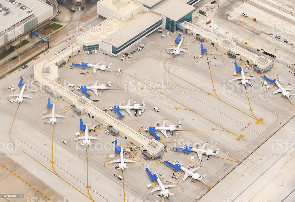 Ariel view of Airport scene stock photo