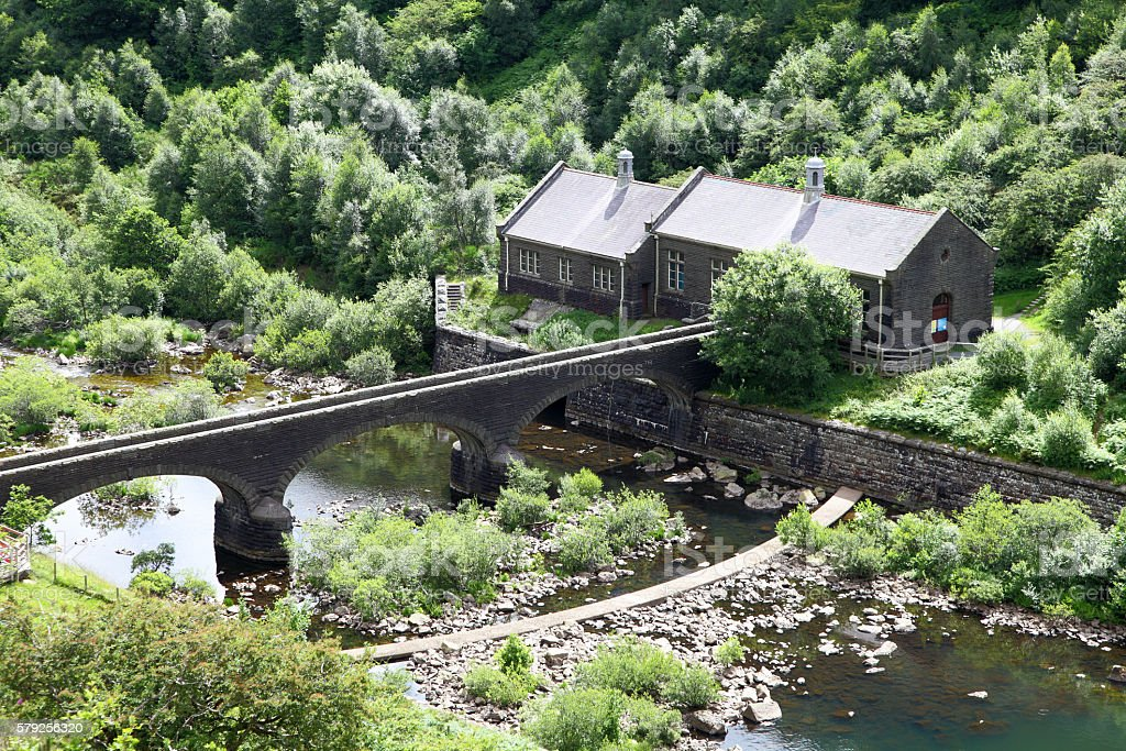 ariel view of dam pump house/power station stock photo