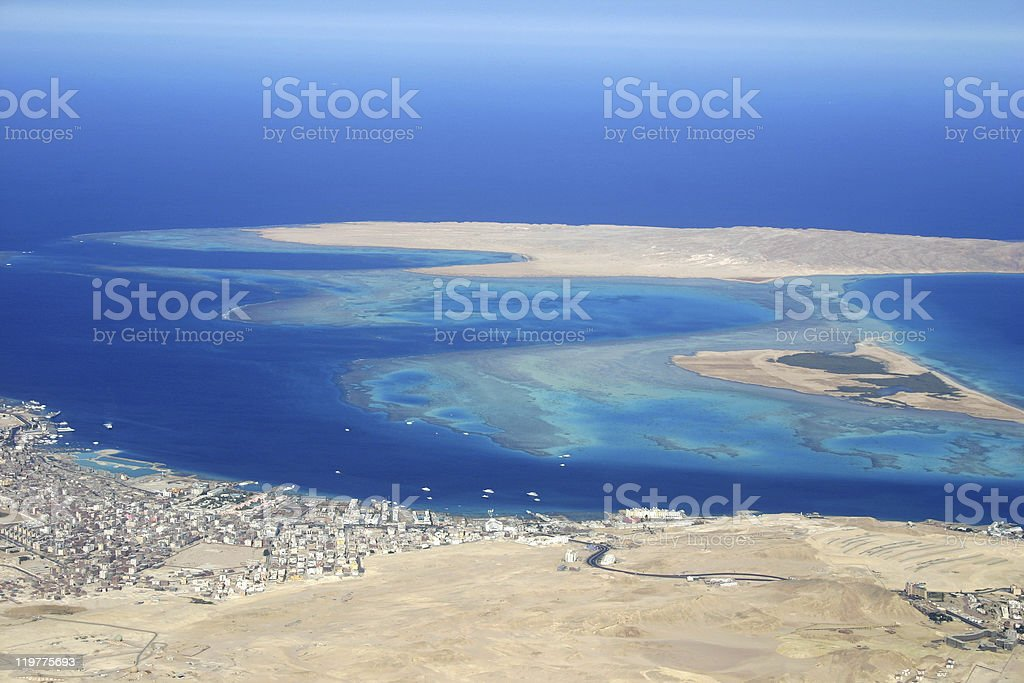 Ariel view of Hurghada and beautiful blue ocean stock photo