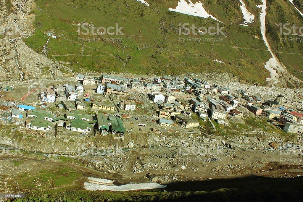 Ariel view of Kedarnath village with Kedarnath temple stock photo