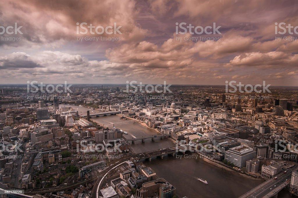 Ariel view of London Bridge stock photo