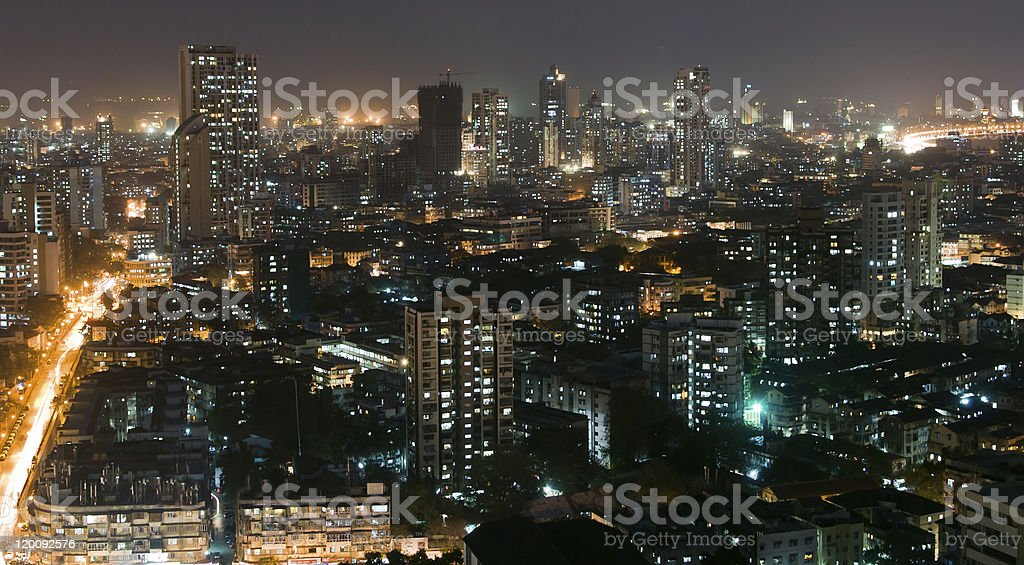 Ariel view of Mumbai, with all its beauty at night stock photo