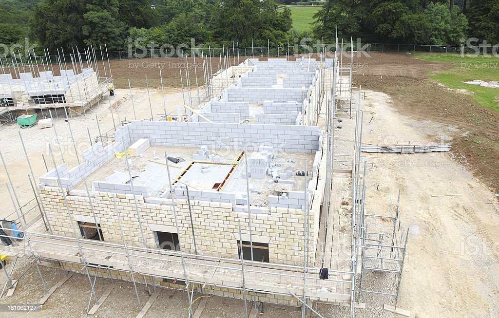Ariel view of new houses getting built royalty-free stock photo
